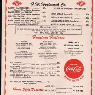 1950 Woolworth Menu